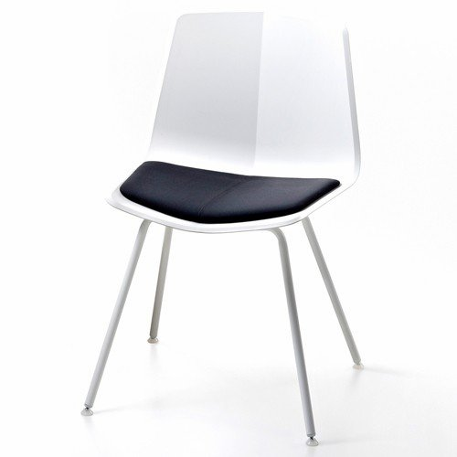 Stratos Chair White-Leather Seat-Chrome Legs