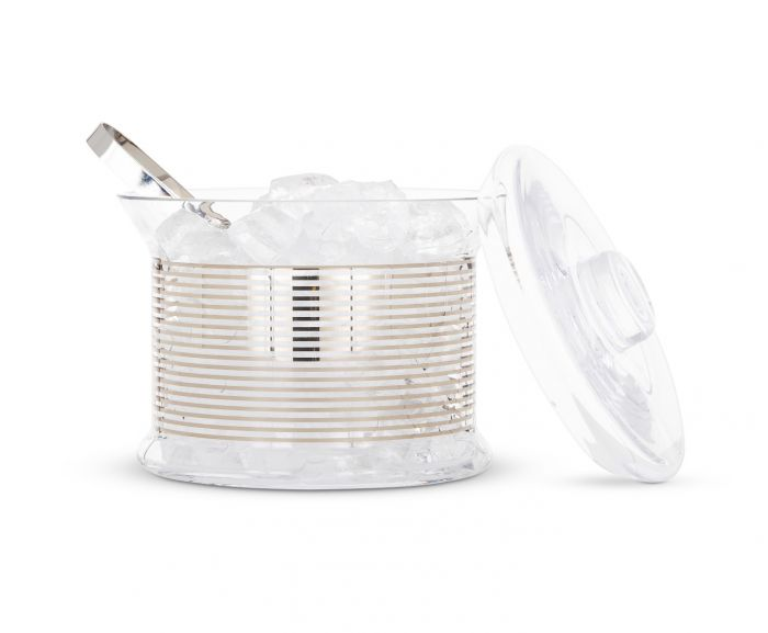Tank ice bucket stripe & tongs